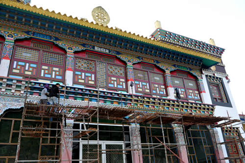 The front facade of the main monastery under renovation
