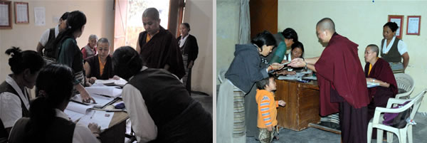 Each case file of recipients is discussed thoroughly with the workers at the TWA (Tibetan Women's Association) to ensure that everyone is receiving proper care (left); A mother and child receive assistance distributed by Samten Tse senior nuns (right)