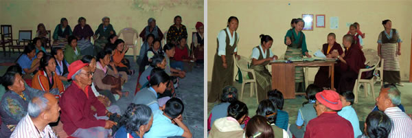 A community gathering to receive the sponsorship of STCS (left); Nuns of Samten Tse Retreat Centre and the Tibetan Women's Association (TWA) meet with the Dekyi Ling community (right)