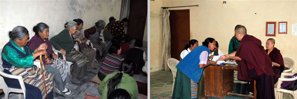 Some of the elderly people who receive support through STCS (left); Nuns of Samten Tse distribute financial assistance (right)