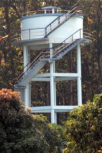 A water tank in a community where water is scarce and provides a much needed reserve. Built with funds provided by STCS