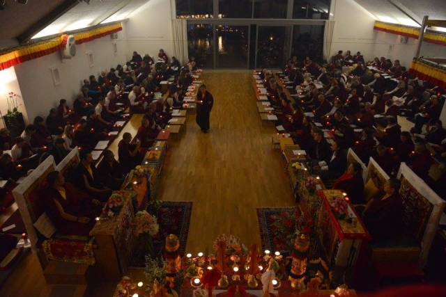 The Marme Monlam - lamp offering ceremony at the conclusion of the Drubchoe.Mindrolling Mahasangha 2016 | Oberlethe, Germany