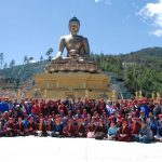 HE Jetsun Khandro Rinpoche, Minling Sangyum Kushok, Jetsun Kushok, Dungse Jigdral, Jetsun Gautami, Kunda Britton, monks and nuns of Mindrolling and sangha members in Bhutan.
