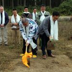 Members of the Malaysian sangha at the site of the new Mindrolling International Meditation Centre.