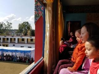 Minling Jetsün Dechen Paldrön, Dungse Rinpoche and Jetsün Rinpoche watching the Cham of the Shinje Drekjom Drubchen