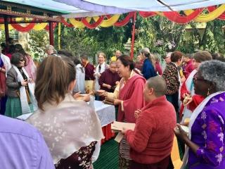 Minling Jetsün Dechen Paldrön gathers with members of the Western sangha on Losar