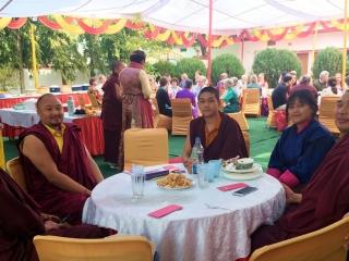 Venerable Namdrol Gyatso, Venerable Sonam Topgyal, Venerable Thinley Gyalsten and friends relaxing on Losar
