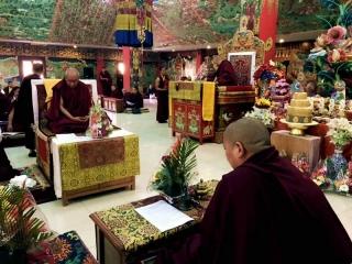 Kyabje Khochhen Rinpoche, HE Minling Khenchen Rinpoche and HE Minling Jetsün Khandro Rinpoche