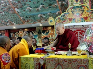 HE Minling Khenchen Rinpoche with new khenpos