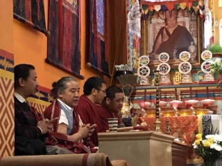 Members of the Tibetan sangha in New York City offer prayers on the 10th anniversary of the parinirvana of Kyabje Mindrolling Trichen