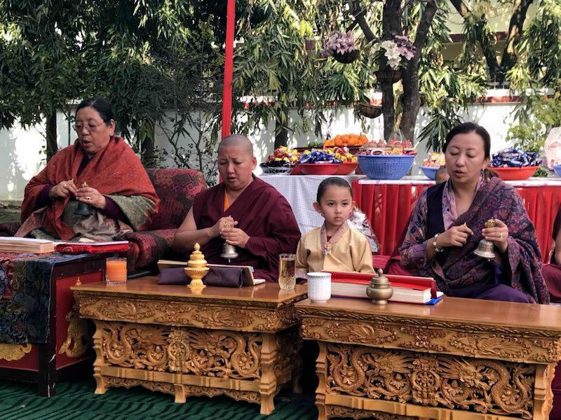 Minling Sangyum Kushog, Jetsün Khandro Rinpoche, Jetsün Dechen Paldrön, and Jetsün Rinpoche during the practice of the Minling Dorsem