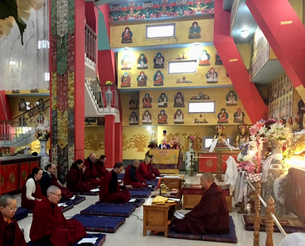 Evening prayers in the Great Stupa
