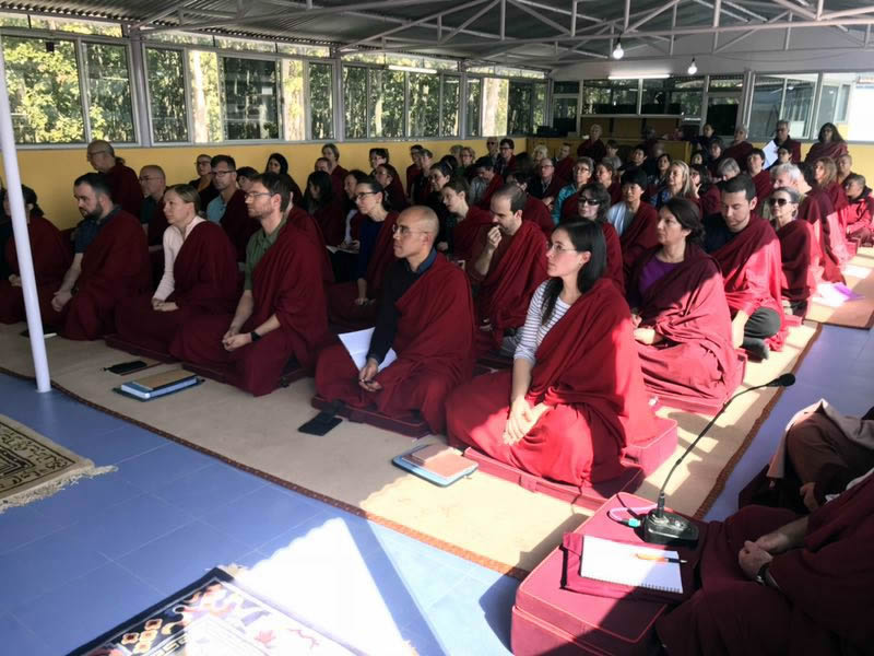 Members of the Western sangha listen to a teaching by HE Mindrolling Jetsün Khandro Rinpoche