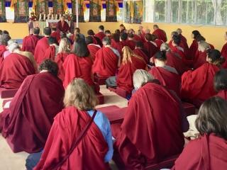 Members of the Western sangha listen to a teaching by HE Jetsün Khandro Rinpoche