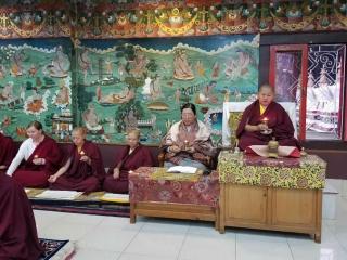 Minling Sangyum Kushog and HE Jetsün Khandro Rinpoche during the Thugje Chenpo Drubchen at Mindrolling