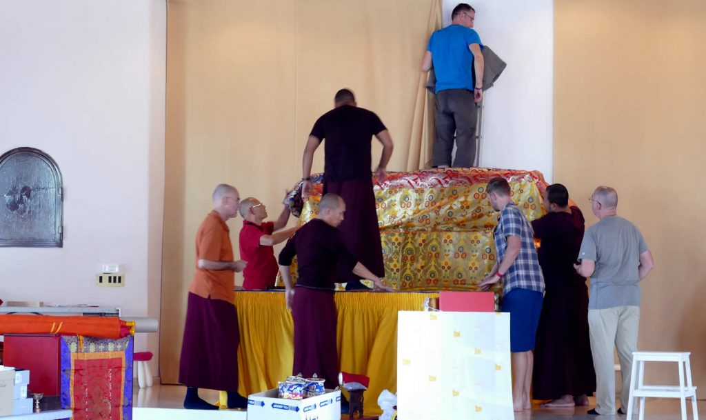 Preparing for Minling Dorsem Drubchö, Mahasangha 2018 in Athens