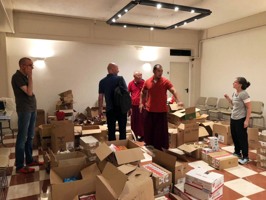 Shrine Room Set-Up, Mahasangha 2018 in Athens